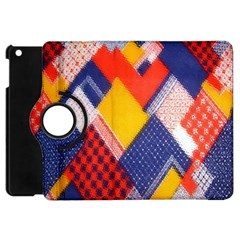Background Fabric Multicolored Patterns Apple Ipad Mini Flip 360 Case by Nexatart