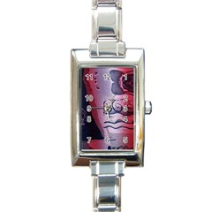 Background Fabric Patterned Blue White And Red Rectangle Italian Charm Watch