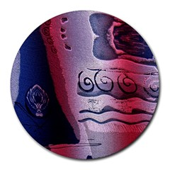 Background Fabric Patterned Blue White And Red Round Mousepads