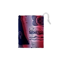 Background Fabric Patterned Blue White And Red Drawstring Pouches (xs)  by Nexatart