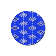 Background For Scrapbooking Or Other Snowflakes Patterns Rubber Coaster (round)