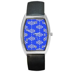 Background For Scrapbooking Or Other Snowflakes Patterns Barrel Style Metal Watch