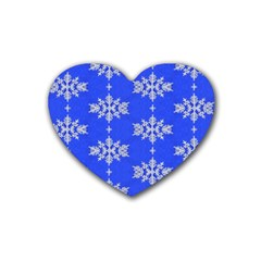 Background For Scrapbooking Or Other Snowflakes Patterns Rubber Coaster (heart)  by Nexatart