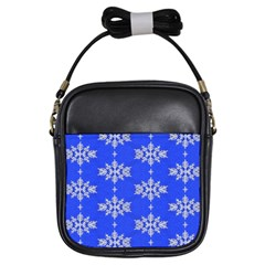 Background For Scrapbooking Or Other Snowflakes Patterns Girls Sling Bags by Nexatart