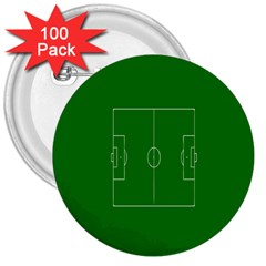 Soccer Field Football Sport Green 3  Buttons (100 Pack)  by Alisyart