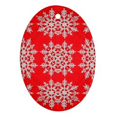 Background For Scrapbooking Or Other Stylized Snowflakes Ornament (oval) by Nexatart