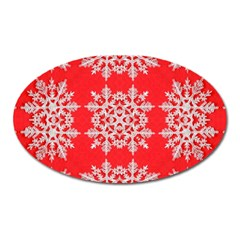 Background For Scrapbooking Or Other Stylized Snowflakes Oval Magnet
