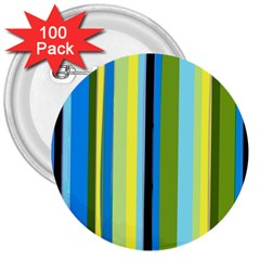 Simple Lines Rainbow Color Blue Green Yellow Black 3  Buttons (100 Pack)