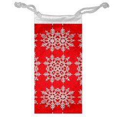 Background For Scrapbooking Or Other Stylized Snowflakes Jewelry Bag by Nexatart