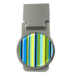 Simple Lines Rainbow Color Blue Green Yellow Black Money Clips (round)