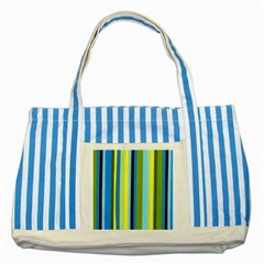 Simple Lines Rainbow Color Blue Green Yellow Black Striped Blue Tote Bag