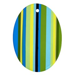 Simple Lines Rainbow Color Blue Green Yellow Black Oval Ornament (two Sides) by Alisyart