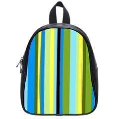Simple Lines Rainbow Color Blue Green Yellow Black School Bags (small)