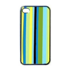 Simple Lines Rainbow Color Blue Green Yellow Black Apple Iphone 4 Case (black)