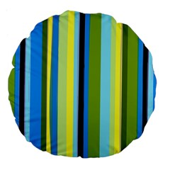 Simple Lines Rainbow Color Blue Green Yellow Black Large 18  Premium Flano Round Cushions by Alisyart
