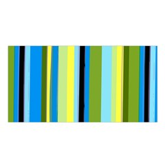 Simple Lines Rainbow Color Blue Green Yellow Black Satin Shawl by Alisyart