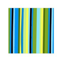 Simple Lines Rainbow Color Blue Green Yellow Black Small Satin Scarf (square) by Alisyart