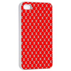 Red Skull Bone Texture Apple Iphone 4/4s Seamless Case (white) by Alisyart