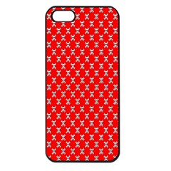 Red Skull Bone Texture Apple Iphone 5 Seamless Case (black)