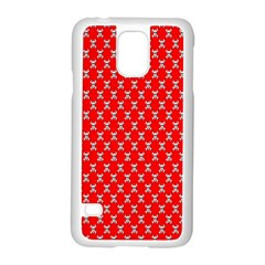 Red Skull Bone Texture Samsung Galaxy S5 Case (white)