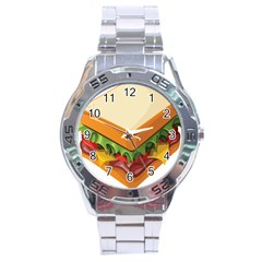 Sandwich Breat Chees Stainless Steel Analogue Watch