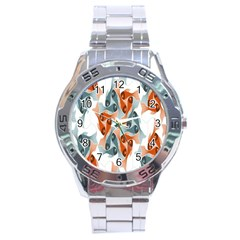 School Fish  Orange Grey Stainless Steel Analogue Watch by Alisyart