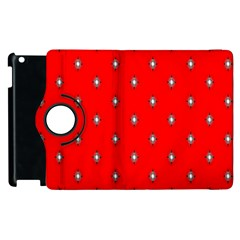 Simple Red Star Light Flower Floral Apple Ipad 3/4 Flip 360 Case