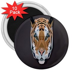 Tiger Face Animals Wild 3  Magnets (10 Pack)  by Alisyart