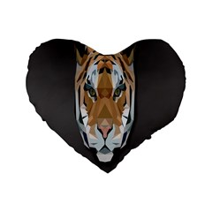 Tiger Face Animals Wild Standard 16  Premium Heart Shape Cushions by Alisyart
