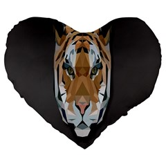 Tiger Face Animals Wild Large 19  Premium Flano Heart Shape Cushions