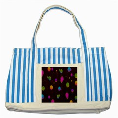 Spots Bright Rainbow Color Striped Blue Tote Bag