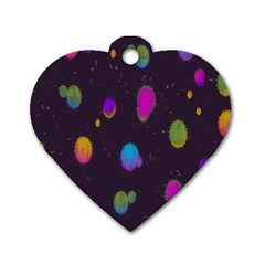 Spots Bright Rainbow Color Dog Tag Heart (one Side)