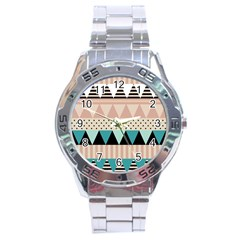 Triangle Wave Chevron Grey Stainless Steel Analogue Watch by Alisyart