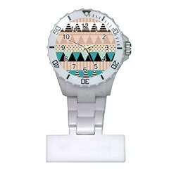 Triangle Wave Chevron Grey Plastic Nurses Watch by Alisyart