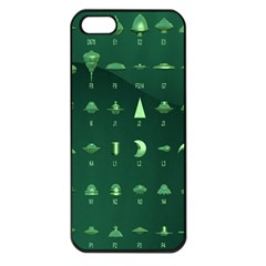 Ufo Alien Green Apple Iphone 5 Seamless Case (black)