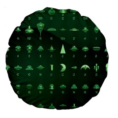 Ufo Alien Green Large 18  Premium Round Cushions by Alisyart
