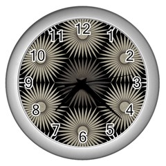 Sunflower Black White Wall Clocks (silver)  by Alisyart