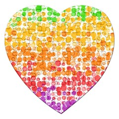 Spots Paint Color Green Yellow Pink Purple Jigsaw Puzzle (heart) by Alisyart