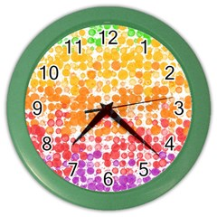 Spots Paint Color Green Yellow Pink Purple Color Wall Clocks by Alisyart