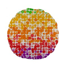 Spots Paint Color Green Yellow Pink Purple Standard 15  Premium Round Cushions