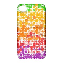 Spots Paint Color Green Yellow Pink Purple Apple Iphone 4/4s Hardshell Case With Stand by Alisyart