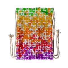 Spots Paint Color Green Yellow Pink Purple Drawstring Bag (small) by Alisyart