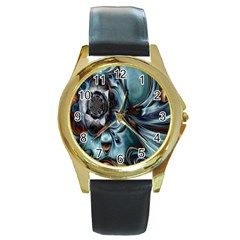 Light Color Floral Grey Round Gold Metal Watch by Alisyart