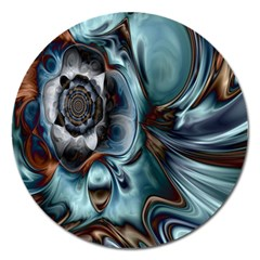 Light Color Floral Grey Magnet 5  (round) by Alisyart