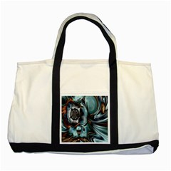 Light Color Floral Grey Two Tone Tote Bag