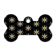 Background For Scrapbooking Or Other With Flower Patterns Dog Tag Bone (two Sides) by Nexatart