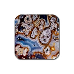 Honey Comb Agate Gold Rubber Square Coaster (4 Pack)