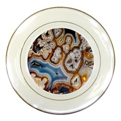 Honey Comb Agate Gold Porcelain Plates