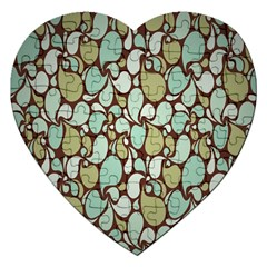Leaf Camo Color Flower Floral Jigsaw Puzzle (heart) by Alisyart