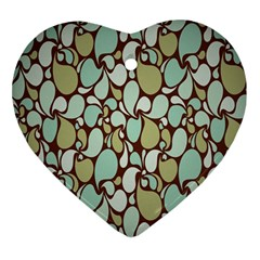 Leaf Camo Color Flower Floral Heart Ornament (two Sides)